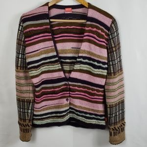 Oilily Pink & Brown Multi Patterned Cardigan